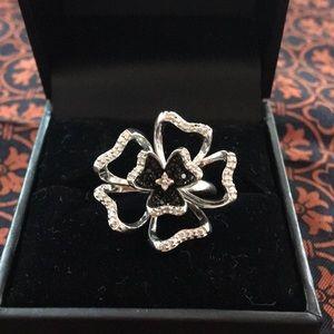 .925 Silver Black Flower Sterling Silver Ring